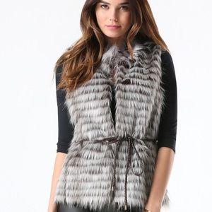 BEBE Grey Faux Fur Vest